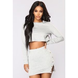 Fashion Nova Light Gray Button Set